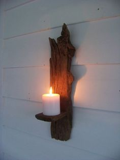 Primitive wall sconces | Driftwood Candle Holder Primitive Wall Sconce by AntiquesGraveyard, $ ...