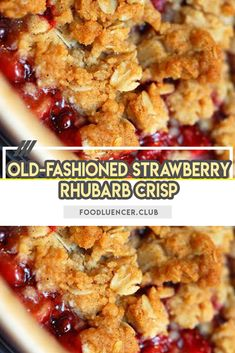 Out-dated Strawberry Rhubarb Crisp is sweet with strawberries, with a bit of tart from rhubarb. An extra-thick rich oats fixing gives the ideal difference – and it remains fresh for a considerable length of time! Strawberry Rhubarb Recipes, Strawberry Rhubarb Crisp, Rhubarb Crisp Recipe, Frozen Rhubarb Recipes, Rhubarb Apple Crisp, Healthy Rhubarb Recipes, Rhubarb Rhubarb, Keto Desserts, Rhubarb Desserts