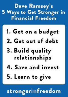 "5 Ways to Get Stronger in Financial Freedom from Dave Ramsey's message ""Stronger in Freedom"" (http://wcreek.cc/stronger) #WillowCreek #Stronger"