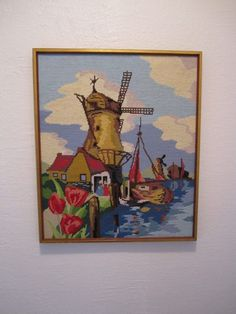 Vintage Harbor Finished Embroidery Windmill Flowers Sailboat Crewel Needlepoint