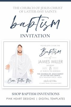 """This """"Come, Follow Me"""" baptism invitation only takes minutes to customize! You can easily edit the text and print today. Edit in your web browser, no software needed!  Click to demo the design now! LDS Baptism Invitation Boy 