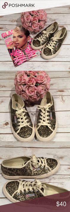 Superga shoes 😍😍 Omg just love these sparkle shoe size 37 excellent condition cream and gold black color shoes brand SUPERGA great for the sunshine ☀️😍😍😍 Superga Shoes Sneakers