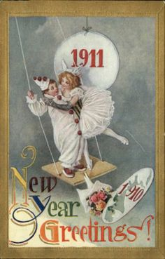 New Year Date 1911 Clowns Gilt Embossed Greeting c1910 Postcard