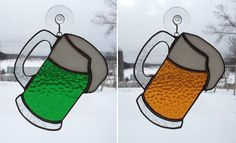 Handmade Stained Glass Mug of Beer Suncatcher by QTSG on Etsy