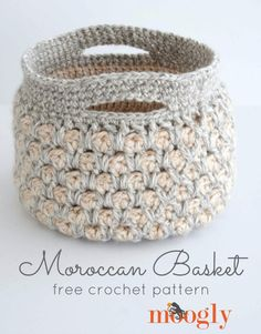 Make this beautiful Moroccan Basket with Lion Brand Hearland Thick & Quick!  Find the free crochet pattern on Mooglyblog.com - calls for 4 balls of yarn (pictured in katmai and acadia) and a size K (6.5mm) crochet hook.