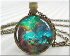 Nebula Necklace Pendant Resin Pendant Charm Hubble Space Nebula Necklace (442RB) on Etsy, $12.95
