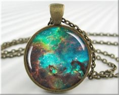 Nebula Necklace Pendant Resin Charm Hubble Space Nebula Jewelry (442RB)