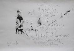 Écritures inventées,  Gabriel Lalonde - Laisser flotter le noir 3  Encre sur papier aquarelle  Mars 2013