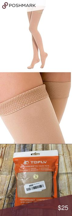 e2bc940be ToFly Thigh High Closed Toe Compression Stockings Tofly Small Beige Opaque  Thigh High Compression Stockings 20