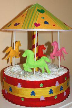 diaper cake in the shape of mobile custom birth by Logofantasy