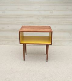 The Side Table...Mid Century Modern Side End Table Toffee and Sunshine (or custom color) / Furniture Midcentury Bed Side Table End Table MCM