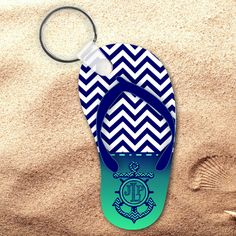 ea4fb5742381d Monogrammed Nautical Chevron Flip Flop Keychain Personalized Summer Beach  Flip Flop Key Charm Beach Flip