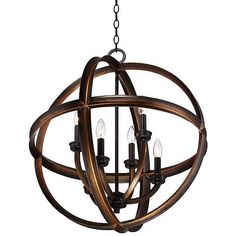 Feiss Allier 26 Quot W Weathered Oak Wood Orb Pendant Light