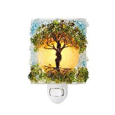 This recycled glass nightlight features a sheltering tree motif. Recycled Bottles, Recycled Glass, Mosaic Glass, Glass Art, Unique Night Lights, Crushed Glass, Nightlights, Tree Lighting, Tree Designs