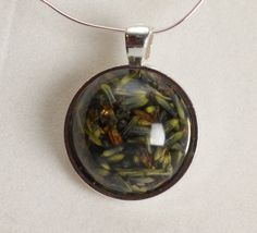 Lavender Flower herb in Resin Pendant in Metal Round by GreyGyrl, $14.00