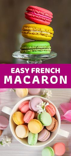 Easy French Macaron - The ingredients and how to make it please visit the website Best Dessert Recipe Ever, Best Easy Dessert Recipes, Dessert Recipes With Pictures, Quick Easy Desserts, Sweets Recipes, Dinner Recipes, Hot Desserts, Desserts Menu, Cheesecake Desserts