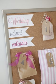 "DIY Wedding // how to make a darling ""Wedding Advent Calendar"" for your bestie to unwrap and celebrate the days leading up to her wedding day!"