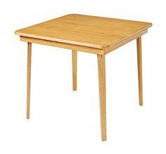 Stakmore Straight Edge Wood Folding Card Table Warm Oak Finish Fold Mechanism