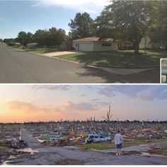 Mother natures fury. A before and after shot of Joplin, Missouri after a massive tornado on May 22. Source: zeitlosimagery