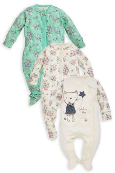 Buy Cat Ditsy Print Sleepsuits Three Pack (0mths-2yrs) from the Next UK online shop