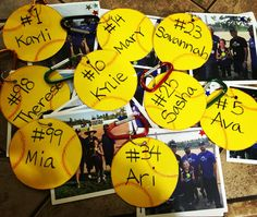Softball end of season gifts: softball tags with season pictures, game ball photos and candid photos during the season.