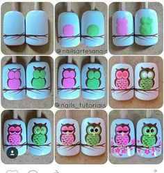 Nail Art Designs In Every Color And Style – Your Beautiful Nails Owl Nail Art, Owl Nails, Animal Nail Art, Cute Nail Art, Cute Nails, Minion Nails, Owl Nail Designs, Painted Nail Art, Nagel Gel