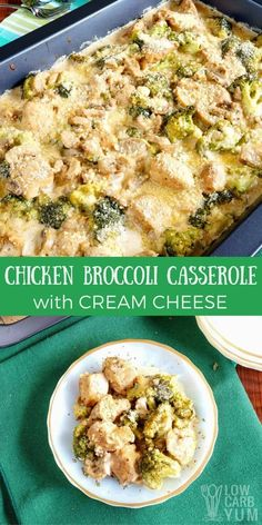 A very quick to prepare #lowcarb chicken broccoli casserole with cream cheese. It's made completely from scratch without relying on a canned soup base. #lowcarbcasserole| lowcarbyum.com via @lowcarbyum