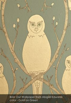 Briar Owl wallpaper from Abigail Edwards in Gold on Green