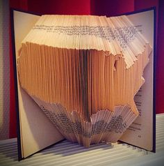 Folded Book Art - Map of United States of America - Hand crafted - Veteran gift - Love your country - Unique - Decorative Book