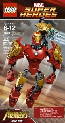 """LEGO Super Heroes Iron Man 4529 by LEGO. $37.95. Combine with 4597 Captain America to build the bigger Iron Patriot. Includes Iron Man buildable figure and Blaster belt with ammo. Customise your model using the flexible building system. Collect the other mighty Avengers: 4530 Hulk and 4597 Captain America. Build bigger figures-over 7"""" tall - with the exclusive high friction joints. From the Manufacturer                Fight villains with Iron Man's powered up armou..."""