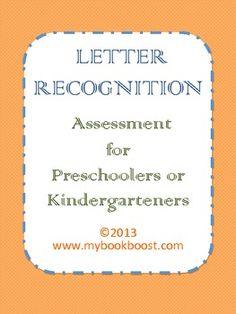 Letter Recognition Assessment for Pre-K and K