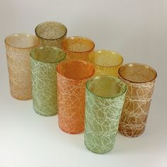 Set of 8 Vintage Spaghetti String Rubberized ColorCraft Shat-R-Pruf Tumblers