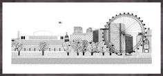 Southbank by Charlene Mullen. Massive range of art prints. Quality UK framing & Money Back Guarantee! Art Deco Print, Nordic Design, New Artists, Tower Bridge, Wall Prints, Illustrators, Monochrome, Contemporary Art, Skyline