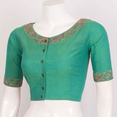 Buy online Handcrafted Cotton Blouse With Embroidery 10023550 - Size 36 Brocade Blouse Designs, Salwar Neck Designs, Kurta Neck Design, Designer Blouse Patterns, Designer Dresses, Simple Embroidery Designs, Simple Blouse Designs, Blouse Neck Designs, Blouse Styles