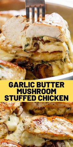 Cheesy Garlic Butter Mushroom Stuffed Chicken WITH an optional Creamy Garlic Parmesan Sauce! ALL Garlic Mushroom lovers. this is THE chicken recipe of your dreams! My Recipes, Snack Recipes, Cooking Recipes, Favorite Recipes, Recipies, Parmesan Sauce, Garlic Parmesan, Garlic Butter, Low Carb Chicken Recipes