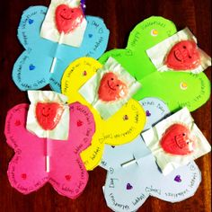 My 4-year olds class valentines - she cut and decorated, I wrote and drew smileys on the suckers!