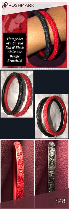 """VTG Set of Carved Red & Black Cloisonné Bangles! Vintage Set of 2 Carved Red & Black Cloisonné Bangle Bracelets! Lovely set of 2 vintage Bakelite bangles in pretty red & black carved design. semi-transparent, lightly swirled Apple juice color. Measures 1/4"""" wide, 1/4"""" thick, 2 5/8"""" inner diameter & approx. 3 1/4"""" wide (end to end). Deep hand carved cut, beautiful scroll design! Layers can be seen with a loop! Ex condition. Offers welcomed! Vintage Jewelry Bracelets"""
