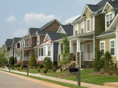 american row houses stock photo