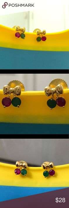 🌸🌸New 22k Gold plated Earrings🌸🌸 Bow earring These are beautiful and elegant all at the same time! Jewelry Earrings