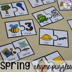 Spring rhyme puzzle plus Plant Needs and Life Cycle Posters FREEBIE. Prefect for preschool and kindergarten.