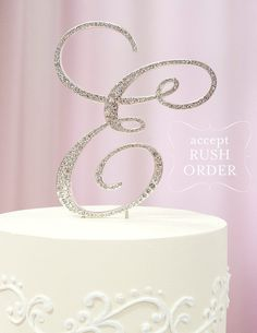 AZ Initial SILVER Metal E Cake Toppers in Elegant by tangedesign, $32.95