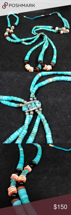 """Stunning, large turquoise necklace Stunning turquoise necklace with various accent stone beads! Absolutely gorgeous and UNIQUE! Excellent condition. 30"""" length, with additional 5"""" drop. Native American Jewelry Necklaces"""