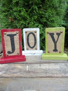 JOY burlap Christmas Sign green red white by OldAndNewShoppe Burlap Christmas, Christmas Signs, Country Christmas, Christmas Projects, All Things Christmas, Winter Christmas, Christmas Holidays, Christmas Decorations, Christmas Blocks