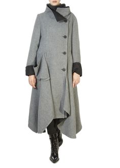 This is the 'Amit' Grey Asymmetric Coat by our friends at XD Xenia Design! Add an elegant touch to your formal-wear with this stunning coat. Featuring a draping front, cuffed sleeves, and large front buttons for an enhanced feminine appeal. Xenia Design, Asymmetrical Coat, Red Maxi, Grey Wash, Floral Midi Dress, Winter Coats Women, Cuff Sleeves, Formal Wear, Fabric Design