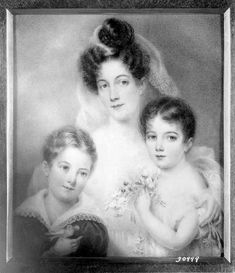 """Ann Hall (1792‒1863), """"Mrs. Edwin Augustus Post (Lucretia Ann Main) and her children, Edwin Augustus Post, Jr. and Lucretia Main Post (Mrs. William T. Moore),"""" undated. Miniature on ivory, 4 1/4 x 3 3/4 in. Photographed in a private collection in New York City. The Frick Collection / Frick Art Reference Library Photoarchive. #fricklibrary #miniatures #childrenwithpets #birds"""