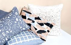 Simple printed pillows in the freshest colours for the living room and bedroom!   Bloesem Living | Quick Start: Nell & Mary