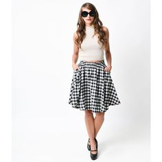 Black & Ivory Gingham High Waist Cotton Flare Skirt (51 CAD) ❤ liked on Polyvore featuring skirts, black, ivory skater skirt, cotton knee length skirt, gingham skirt, gathered skirt and high waisted circle skirt