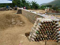 Man Builds An Amazing House With Recycled Plastic Bottles Plastic Bottle House, Pet Bottle, Bottle Wall, Recycled Bottles, Recycle Plastic Bottles, Earth Bag Homes, Brick Projects, Diy Projects, Brick And Wood