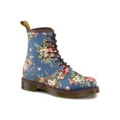 Dr Martens Castel Boot INDIGO DENIM VICTORIAN FLOWERS - Doc Martens... ($150) ❤ liked on Polyvore