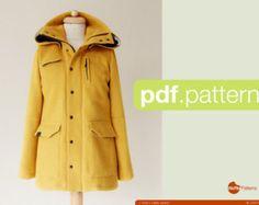 PDF sewing pattern Women Utility Jacket Tosti by WafflePatterns Coat Pattern Sewing, Coat Patterns, Jacket Pattern, Pdf Sewing Patterns, Clothing Patterns, Ladies Hooded Coats, Fashion Sewing, Utility Jacket, Outline